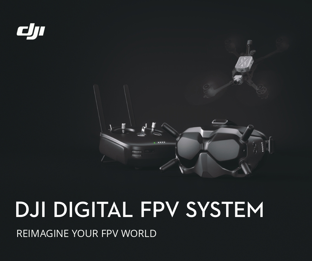 DJI Digital FPV System Air Unit 5.8GHz 8CH Transmitter HD 1080P Camera 1440X810 Goggle Combo With Remote Controller Super Low Latency for RC Racing Drone