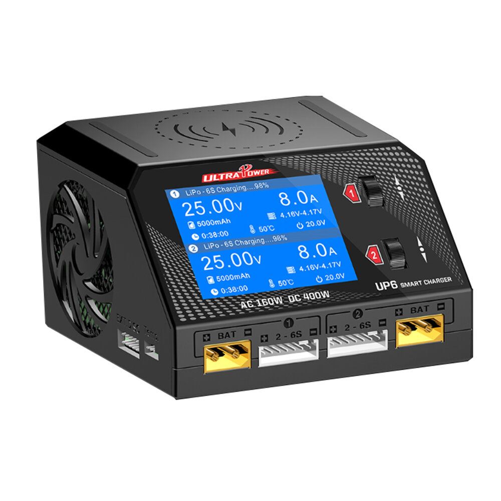 HOTA D6 Pro AC 160W DC 400W 10A Battery Charger With Wireless Charging for Lipo/Nicd/NiMH Battery