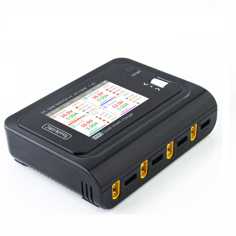 ToolkitRC M4Q 4x50W 5A AC 100W 4 Port DC Smart Charger XT60/XT30 Optional for 1-4S Lipo Battery